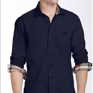 Men's Navy Burberry button down size XL